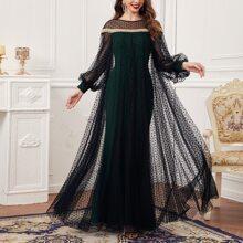 Kleid mit Laternenaermeln, Band Detail, Punkten Muster und Netzstoff
