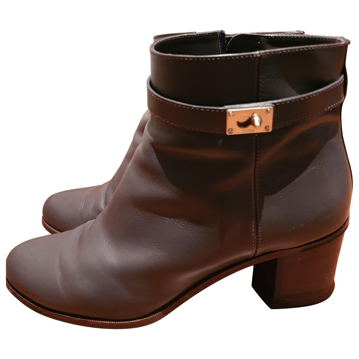 Fendi \N Grey Leather Ankle boots for Women 40 IT