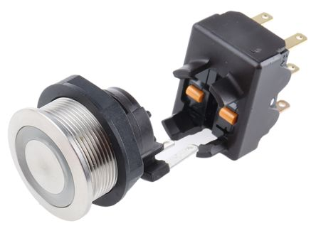Schurter Single Pole Double Throw (SPDT) Momentary Red LED Push Button Switch, IP67, 19 (Dia.)mm, Panel Mount, 250V ac