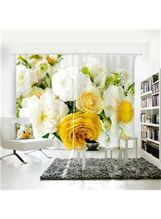 3D Cream Curtain for Dining Living Room Romantic Refreshing Roses Printed Room Darkening Curtains 2 Panel Set 80 Inches Wide and 84 Inches Long Provid
