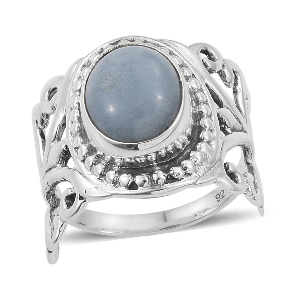 Boho 925 Sterling Silver Angelite Solitaire Ring Ct 2.7 (Ring 7)