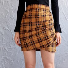 Zip Side Ruched Tartan Skirt
