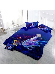 3D Coral Fish and Jellyfish Wear-resistant Breathable High Quality 60s Cotton 4-Piece 3D Bedding Sets