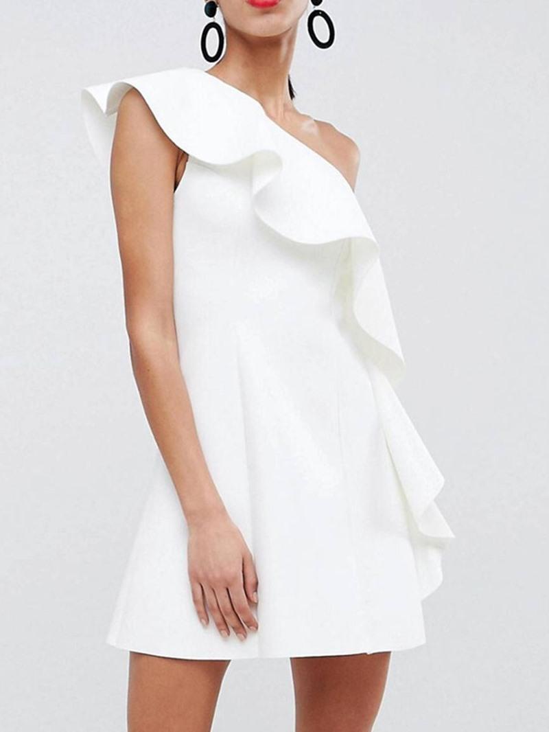 Ericdress Stringy Selvedge Oblique Collar Mid Waist A-Line Plain Dress