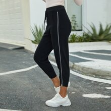 Zipper Side Drawstring Waist Sweater Pants