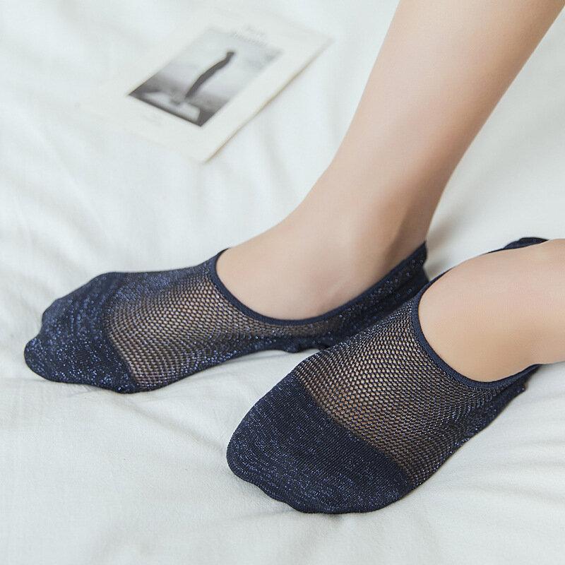 Women Mesh Cotton Silicone Non-slip Invisible Boat Socks Breathable Good Elastic Stealth Socks