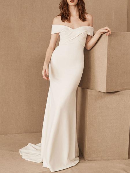 Milanoo Vestidos de novia sencillos de silueta sirena con manga corta Vestidos de novia Blanco con escote de hombros caidos cintura natural con pliegu