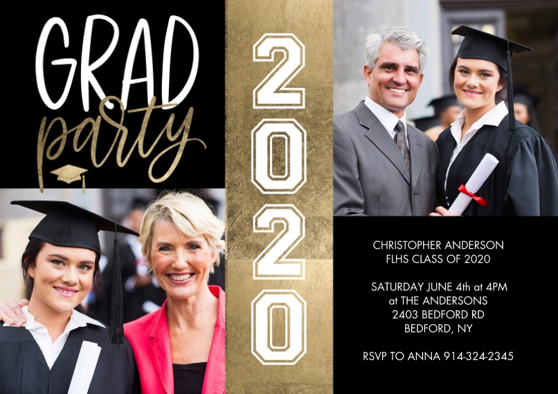 2020 Graduation Invitations 5x7 Cards, Premium Cardstock 120lb with Scalloped Corners, Card & Stationery -Grad Party 2020 Gold Strip by Tumbalina