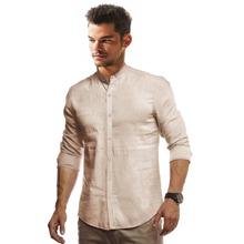 Camisa con boton de cuello alzado