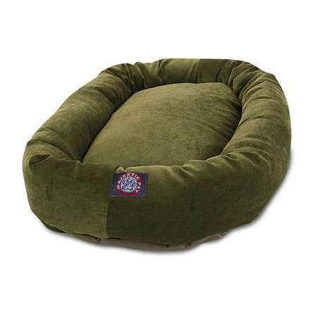 Majestic Pet Villa Collection Micro-Velvet Bagel Pet Bed, One Size , Green