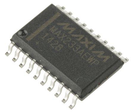 Maxim Integrated MAX233AEWP+G36, Line Transceiver, EIA/TIA-232, RS-232, RS-485, V.24, V.28 2-TX 2-RX, 4.5 → 5.5