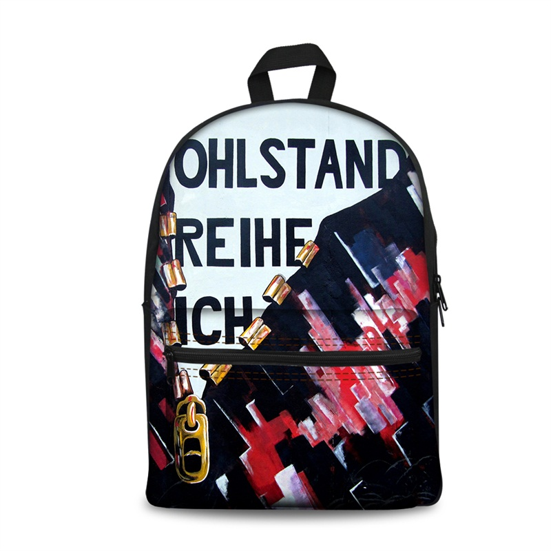 3D Abstract Zipper and Letters Pattern School Outdoor for Man&Woman Backpack