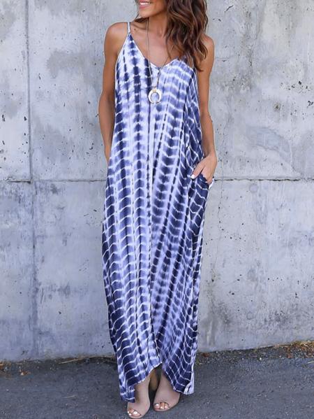 Yoins ZANZEA Stripe Spaghetti Strap V-neck Sleeveless Dress