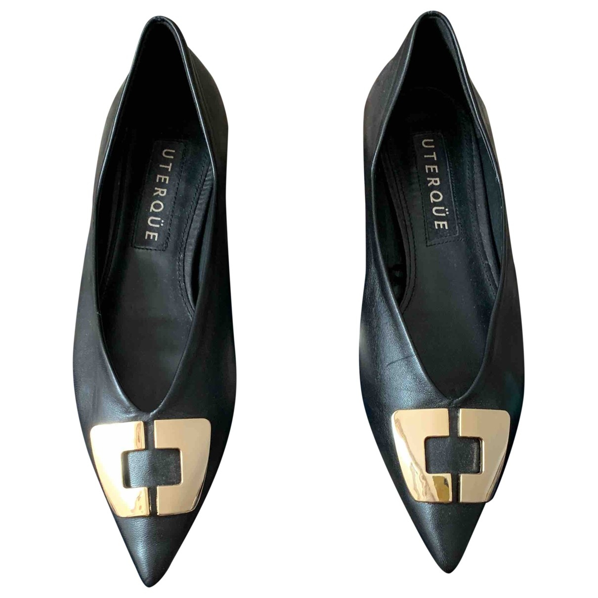 Uterque \N Black Leather Ballet flats for Women 38 EU
