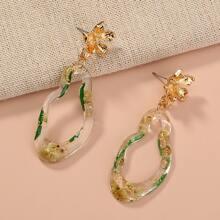 Flower Decor Structured Drop Earrings