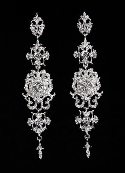 Milanoo Silver Wedding Earrings Alloy Rhinestone Bridal Drop Earrings