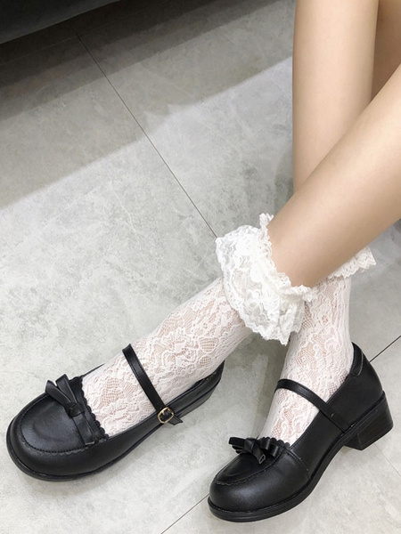 Milanoo Sweet Lolita Footwear Black Bows Buttons Lolita Shoes
