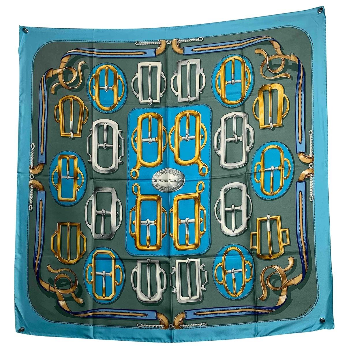 Hermes - Carre Carre 90 pour femme en soie - bleu