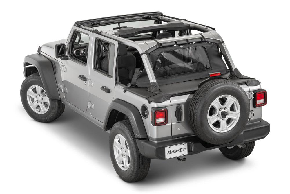 MasterTop 14441635 Jeep JL WindStopper/Tonneau Cover Combo 2018-2020 Wrangler JL 4 Door Hard Top Black Diamond
