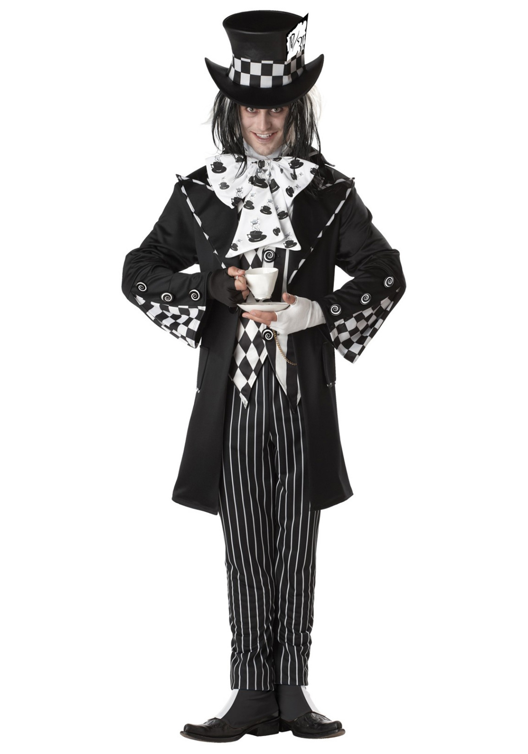 Mens Wicked Mad Hatter Costume W/ Top Hat, Jacket, Vest & Pants