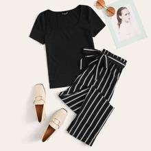 Strick T-Shirt und Hose Set mit Papiertasche Taille und Streifen