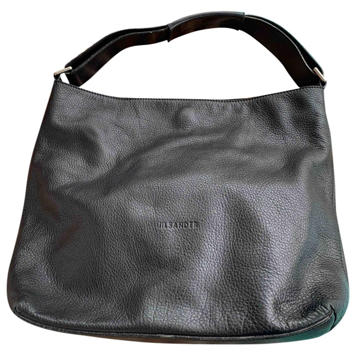 Jil Sander - Sac a main Shopper pour femme en cuir - noir