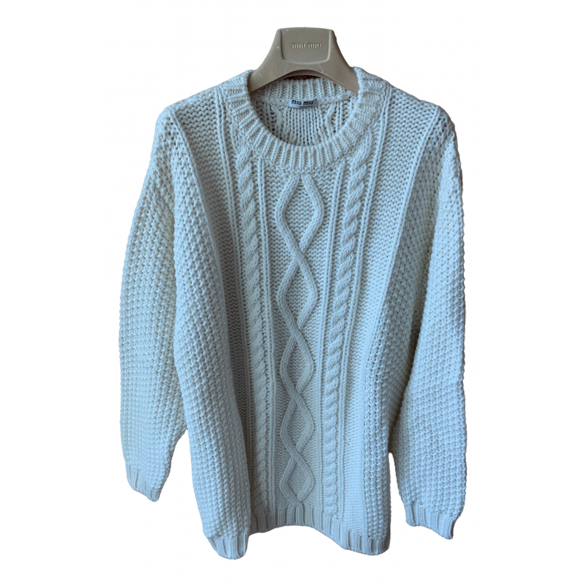 Miu Miu N White Wool Knitwear for Women 40 IT