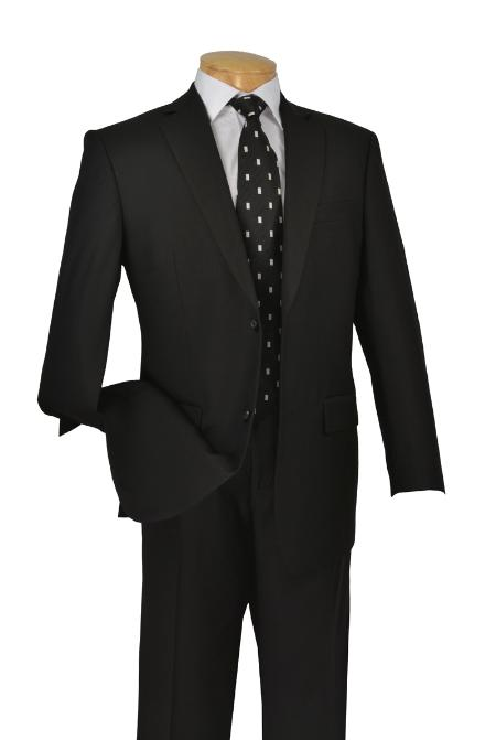 Poly/Rayon Executive Pure Solid Black Suit Notch Collar Pleated Pants