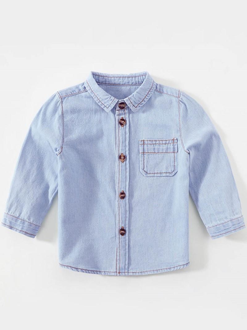 Ericdress Pocket Lapel Baby Boy's Denim Shirt