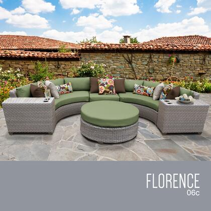 FLORENCE-06c-CILANTRO Florence 6 Piece Outdoor Wicker Patio Furniture Set 06c with 2 Covers: Grey and