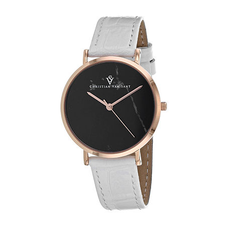 Christian Van Sant Womens White Leather Strap Watch-Cv0423, One Size , No Color Family