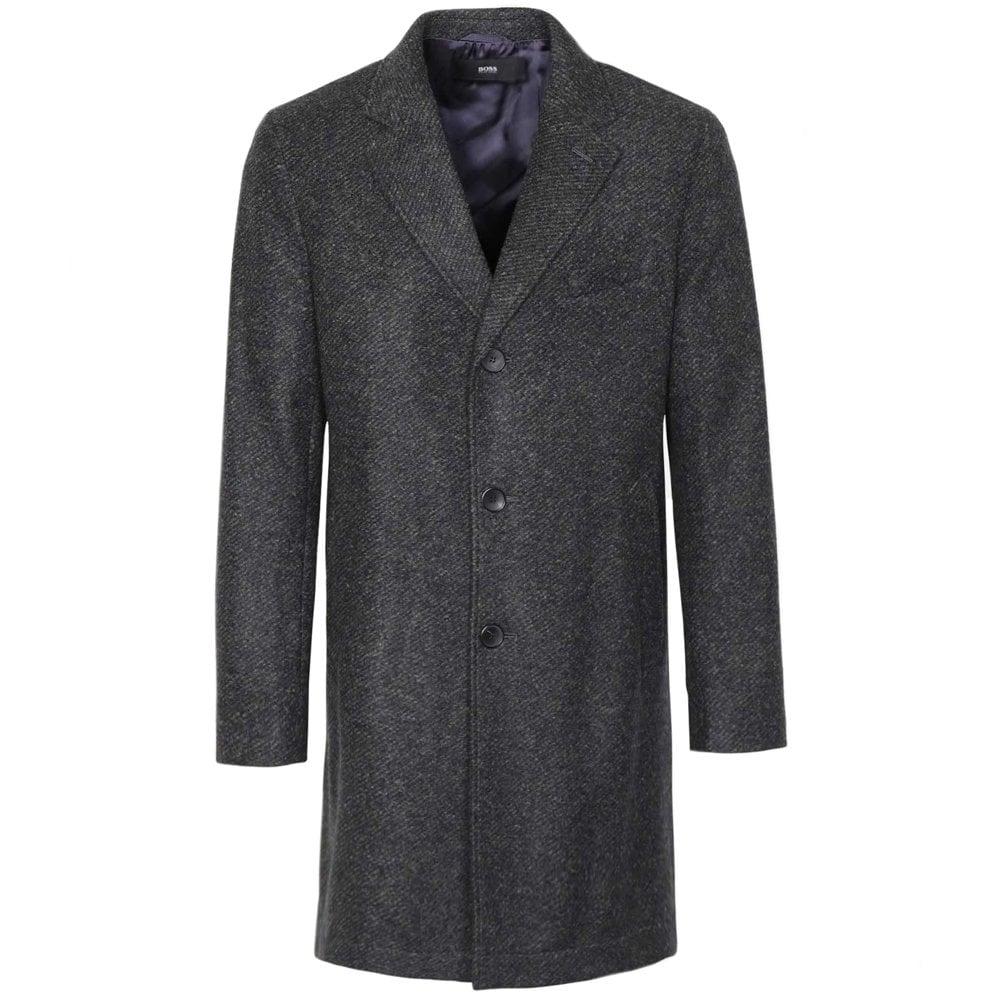Hugo Boss Wool Long Coat Grey Colour: GREY, Size: SMALL