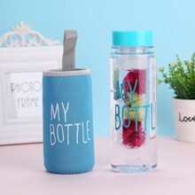 1pc Letter Graphic Plastic Bottle With 1pc Cover