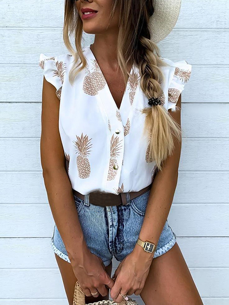Yoins White Ruffle Trim Pineapple Print V-neck Sleeveless Blouse