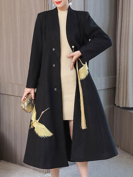 Milanoo abrigo mujer marfil con manga larga con cuello en V de poliester de dos tonos Moda Mujer con bordado etnica Invierno Chaquetas