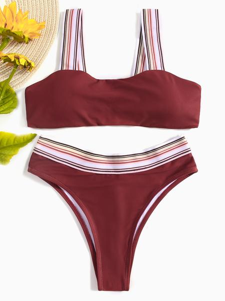 Yoins Burgundy Plain Spaghetti Bikini Set