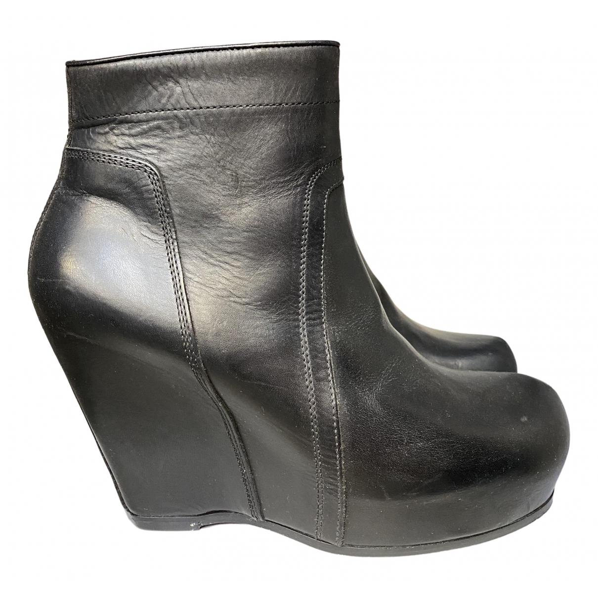 Rick Owens N Black Leather Ankle boots for Women 40 EU