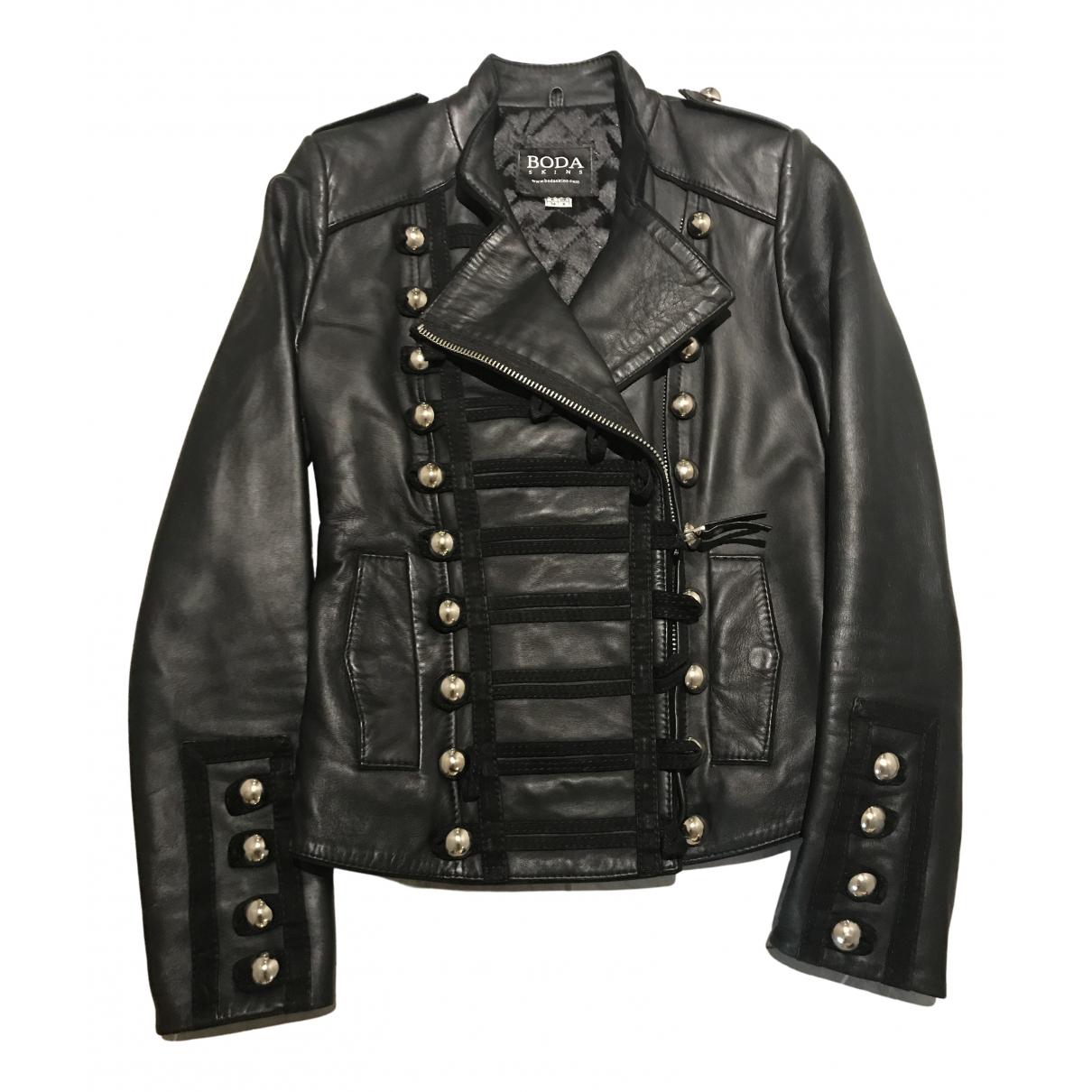 Bodaskins - Veste   pour femme en cuir - noir