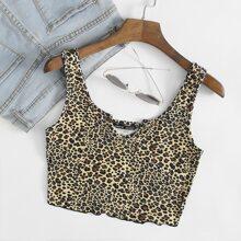Top mit eingekerbtem Kragen, gekraeuseltem Saum und Leopard Muster