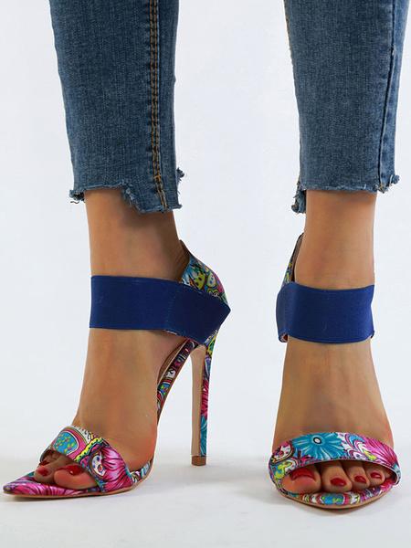 Milanoo High Heel Sandals Womens Flower Printing Open Toe Stiletto Heel Sandals