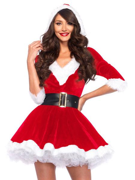 Milanoo Women\'s Christmas Green Polyester Two-Tone Christmas Costumes Holidays Dress