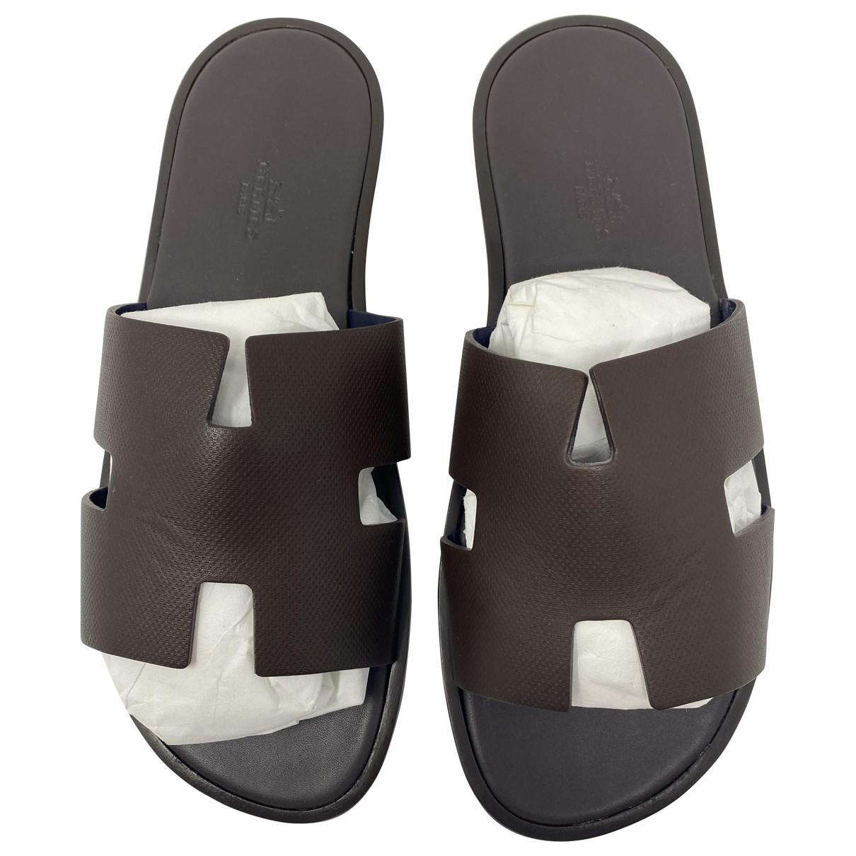 Hermès Izmir Brown Leather Sandals for Men 42 EU