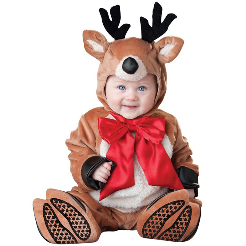Christmas Deer Shaped Horns Decoration Polyester Brown Baby Costume