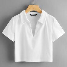 Strick T-Shirt mit V-Kragen