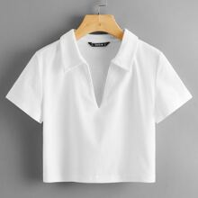 Camiseta tejida de canale escote V con cuello