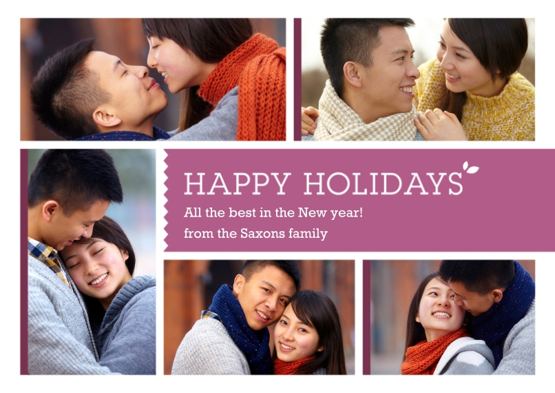 Christmas Photo Cards Flat Glossy Photo Paper Cards with Envelopes, 5x7, Card & Stationery -Multi-Photo Happy Holidays