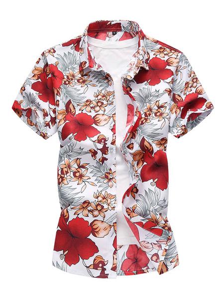 Milanoo Camisa de playa para hombres Camisa de manga corta con estampado floral Plus Size Summer Top de algodon
