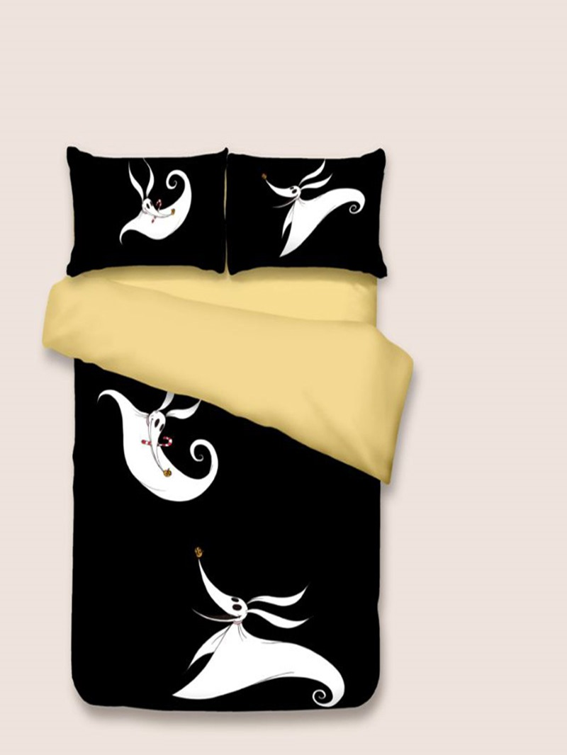 Vivilinen Ghost and Candy Cane Printed Polyester 3-Piece Black Bedding Sets/Duvet Covers