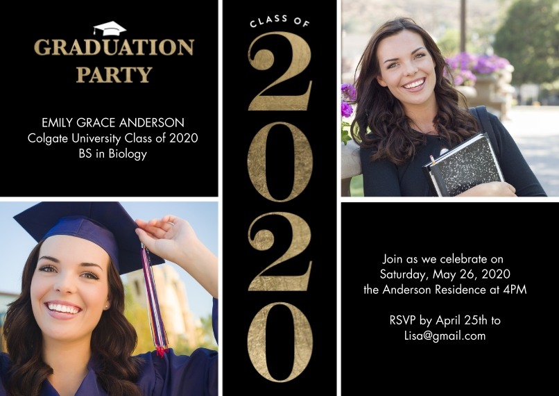 2020 Graduation Invitations 5x7 Cards, Premium Cardstock 120lb with Scalloped Corners, Card & Stationery -2020 Grad Party Type by Tumbalina