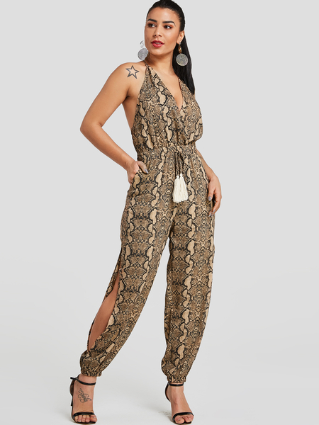Yoins Snake Print Cut Out Backless Tassel Details Jumpsuit